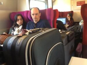 Quentin Wilson incognito in train in France.